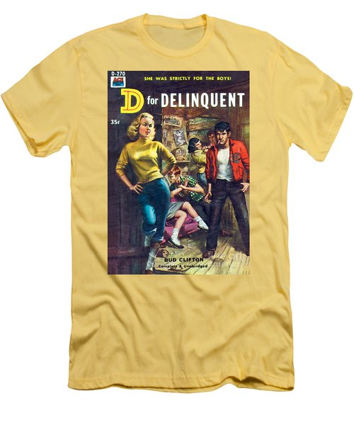 Men's T-Shirt (Slim Fit) featuring the painting D For Delinquent by Rudy Nappi