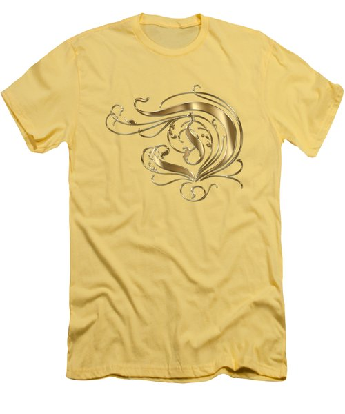 D Ornamental Letter Gold Typography Men's T-Shirt (Athletic Fit)