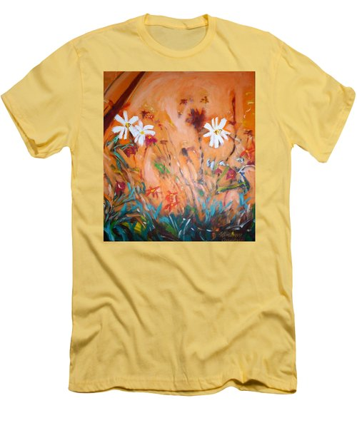 Daisies Along The Fence Men's T-Shirt (Slim Fit) by Winsome Gunning