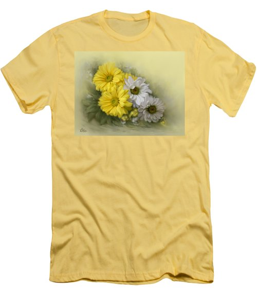 Men's T-Shirt (Slim Fit) featuring the painting Daisy Spring Bouquet by Bonnie Willis