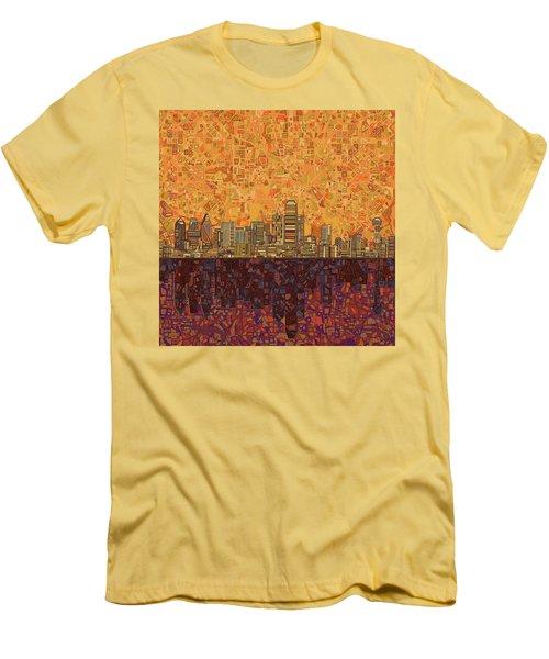 Dallas Skyline Abstract Men's T-Shirt (Slim Fit) by Bekim Art