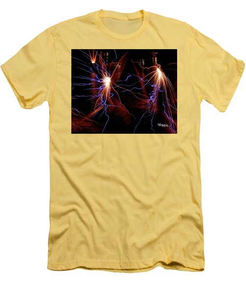 Men's T-Shirt (Athletic Fit) featuring the photograph Dancing Fireworks #0707 by Barbara Tristan