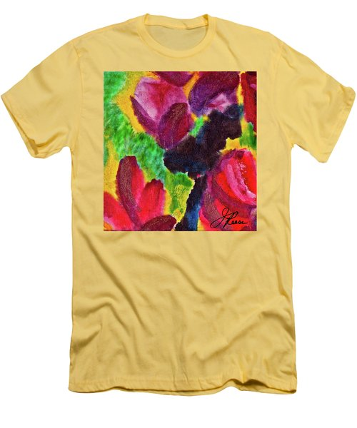 Men's T-Shirt (Slim Fit) featuring the painting Dancing Flowers by Joan Reese