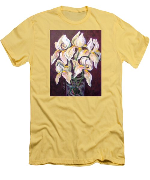 Men's T-Shirt (Slim Fit) featuring the painting Dancing Iris by Laura Aceto