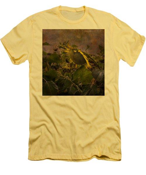 Dark Textured Sunflower Men's T-Shirt (Athletic Fit)