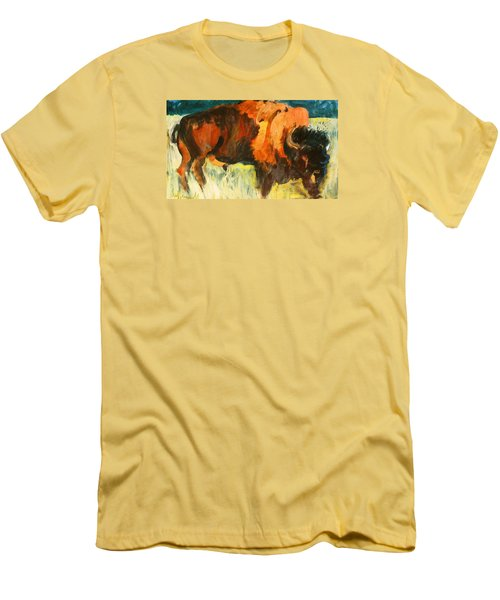 Men's T-Shirt (Slim Fit) featuring the painting Debbie's Postcard Buffalo by Les Leffingwell