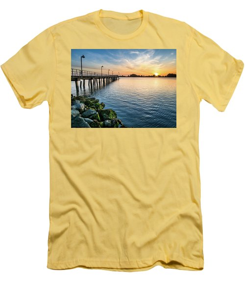 Del Norte Pier And Spring Sunset Men's T-Shirt (Slim Fit) by Greg Nyquist