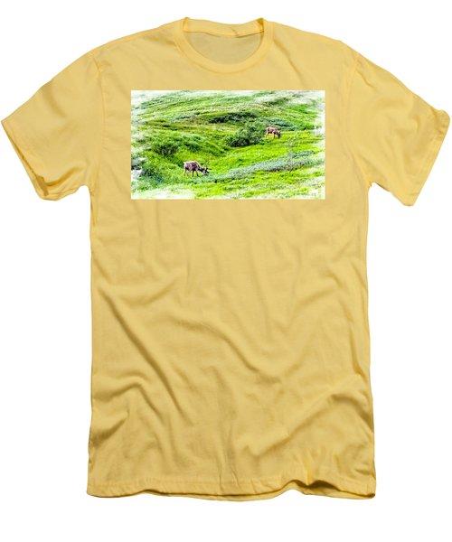 Men's T-Shirt (Slim Fit) featuring the photograph Denali National Park Caribou by Joseph Hendrix