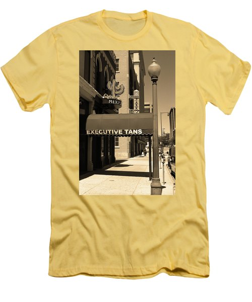 Men's T-Shirt (Slim Fit) featuring the photograph Denver Downtown Storefront Sepia by Frank Romeo