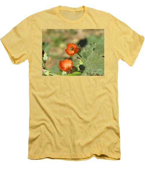 Desert Globemallow Blooms 227 Men's T-Shirt (Slim Fit) by En-Chuen Soo