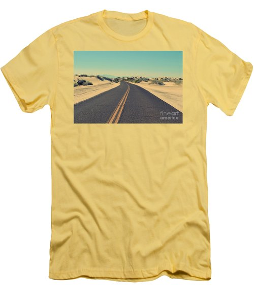Men's T-Shirt (Slim Fit) featuring the photograph Desert Road by MGL Meiklejohn Graphics Licensing