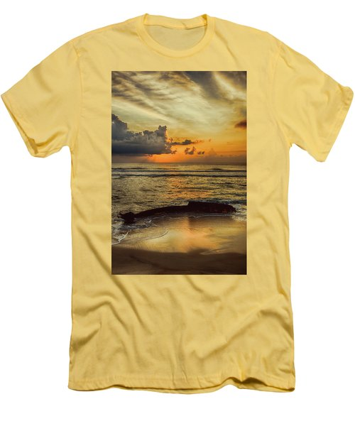 Destruction Of An Outer Banks Shipwreck Men's T-Shirt (Slim Fit) by Dan Carmichael