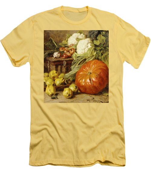 Detail Of A Still Life With A Basket, Pears, Onions, Cauliflowers, Cabbages, Garlic And A Pumpkin Men's T-Shirt (Slim Fit) by Eugene Claude