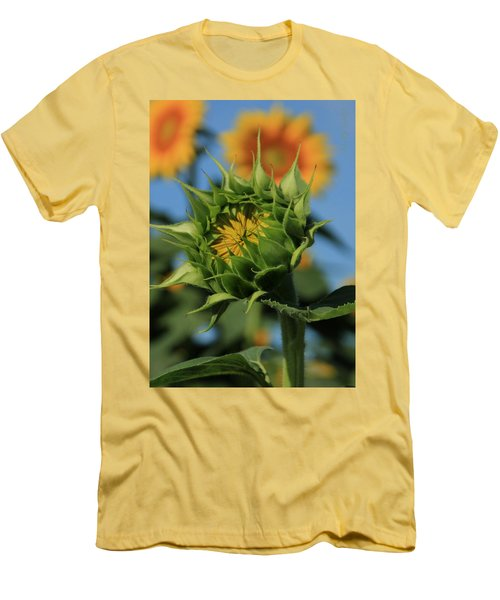 Men's T-Shirt (Slim Fit) featuring the photograph Developing Petals On A Sunflower by Chris Berry