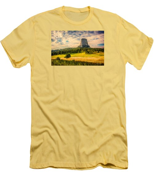 Devil's Tower - The Other Side Men's T-Shirt (Slim Fit) by Rikk Flohr