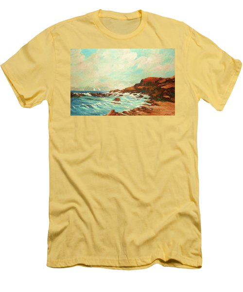 Distant Sails Of The Cove Men's T-Shirt (Slim Fit) by Al Brown