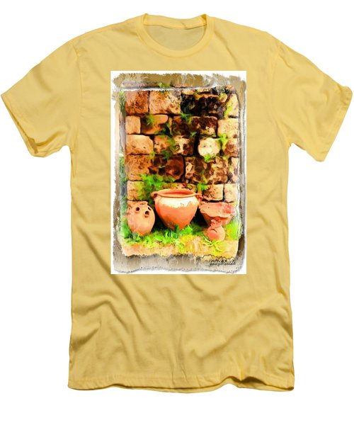 Men's T-Shirt (Slim Fit) featuring the photograph Do-00348 Jars In Byblos by Digital Oil