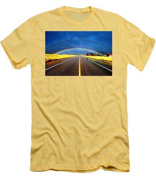 Double Rainbow Over A Road Men's T-Shirt (Slim Fit) by Matt Harang
