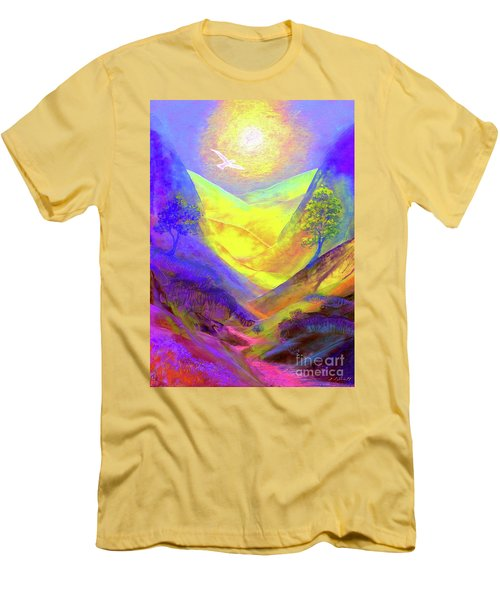 Men's T-Shirt (Slim Fit) featuring the painting Dove Valley by Jane Small