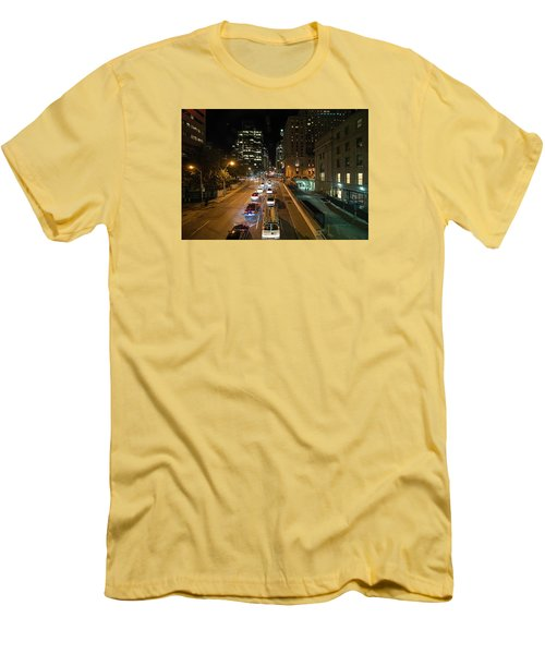 Down Town Toronto At Night Men's T-Shirt (Slim Fit) by John Black