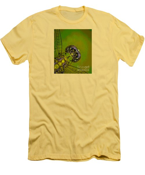 Men's T-Shirt (Slim Fit) featuring the mixed media Dragonfly Detail by Kim Henderson