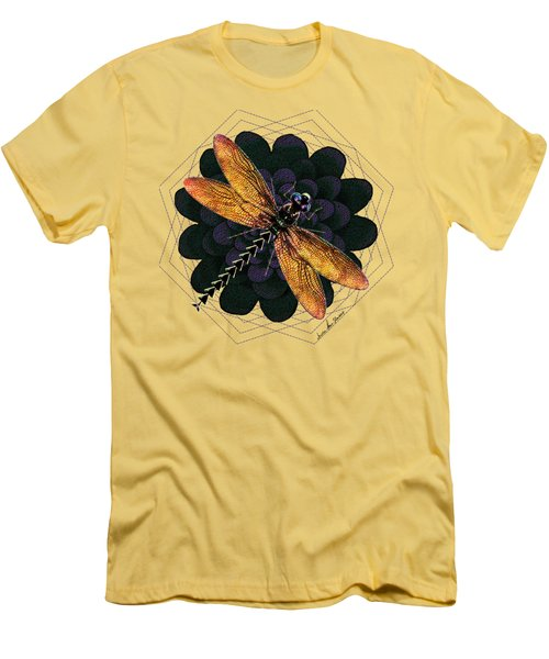 Men's T-Shirt (Slim Fit) featuring the digital art Dragonfly Snookum by Iowan Stone-Flowers