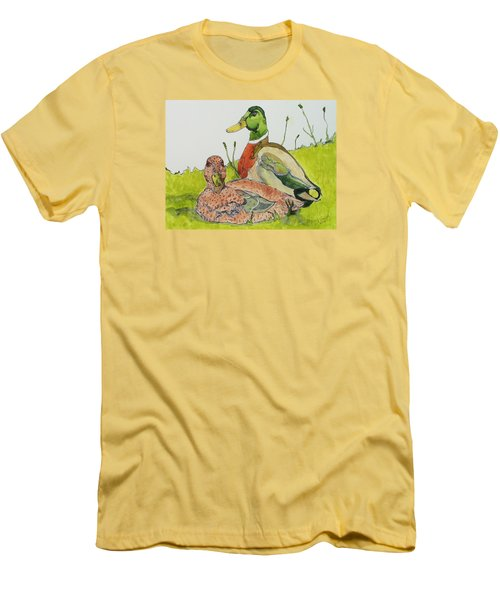 Men's T-Shirt (Slim Fit) featuring the painting Ducks In Love by Rand Swift