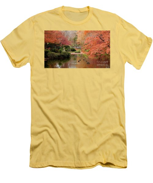 Ducks In The Pond Men's T-Shirt (Slim Fit) by Iris Greenwell