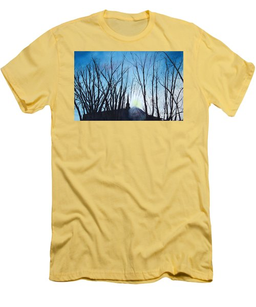 Men's T-Shirt (Slim Fit) featuring the painting Durfee Street Chapel by Jane Autry