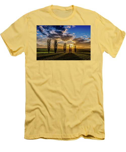 Dutch Moutains At Sunset Men's T-Shirt (Slim Fit) by Rainer Kersten