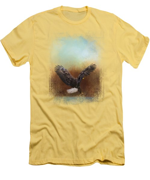 Eagle Hunting In The Marsh Men's T-Shirt (Slim Fit) by Jai Johnson