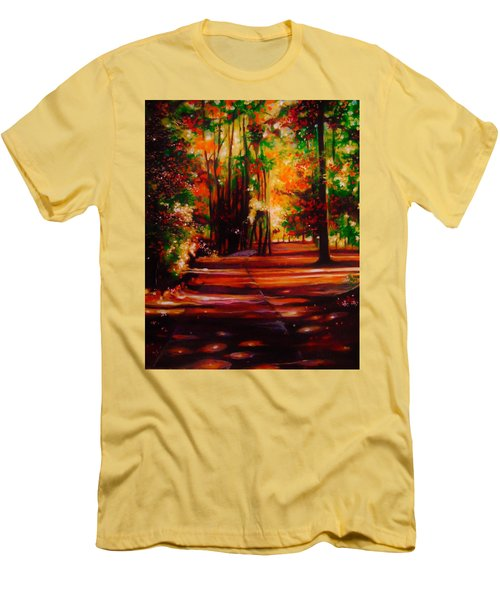 Men's T-Shirt (Slim Fit) featuring the painting Early Monday Morning by Emery Franklin