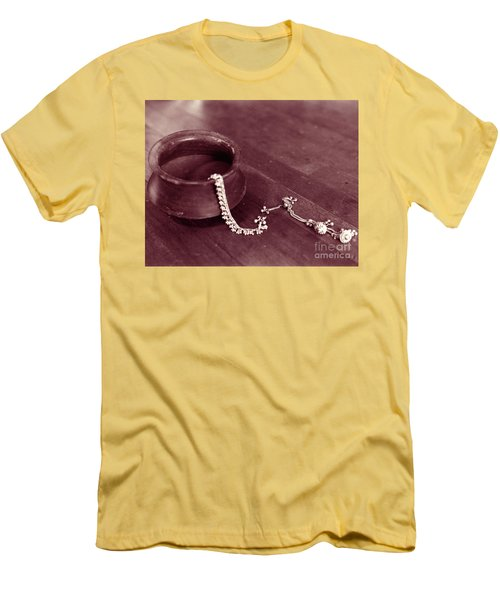 Men's T-Shirt (Slim Fit) featuring the photograph Earthen Pot And Silver by Mukta Gupta