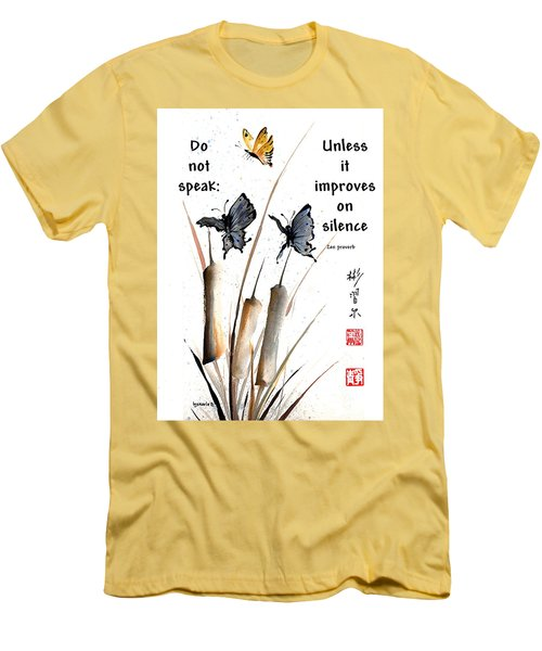 Echo Of Silence With Zen Proverb Men's T-Shirt (Athletic Fit)