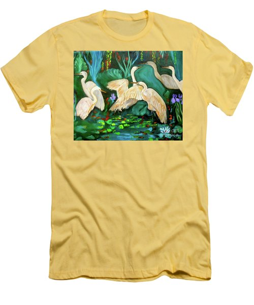 Egrets On Lotus Pond Men's T-Shirt (Slim Fit) by Jenny Lee