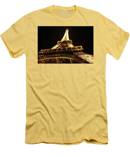Men's T-Shirt (Slim Fit) featuring the photograph Eiffel Tower At Night by MGL Meiklejohn Graphics Licensing