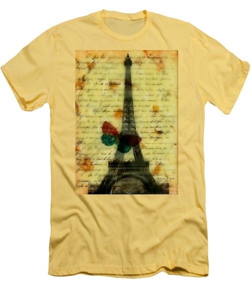 Eiffel Tower Memory Encaustic Men's T-Shirt (Slim Fit) by Bellesouth Studio