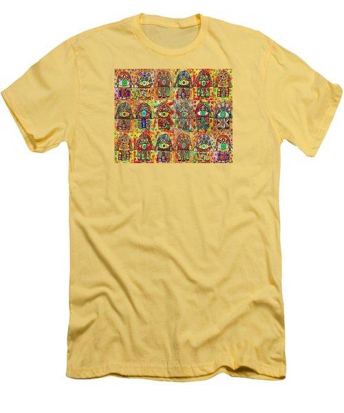 -eighteen Vintage Chai Hamsas Men's T-Shirt (Slim Fit) by Sandra Silberzweig