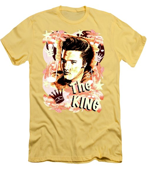 Elvis The King In Salmon Red Men's T-Shirt (Slim Fit)