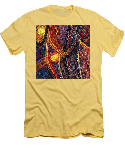 Men's T-Shirt (Slim Fit) featuring the painting Energy Of Two by Vadim Levin