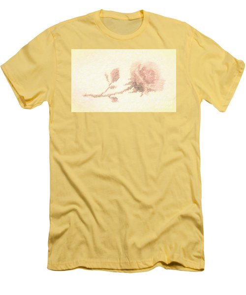 Men's T-Shirt (Slim Fit) featuring the photograph Etched Red Rose by Linda Phelps