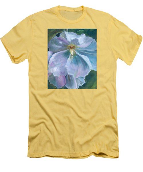 Men's T-Shirt (Slim Fit) featuring the painting Ethereal White Hollyhock by Jane Autry