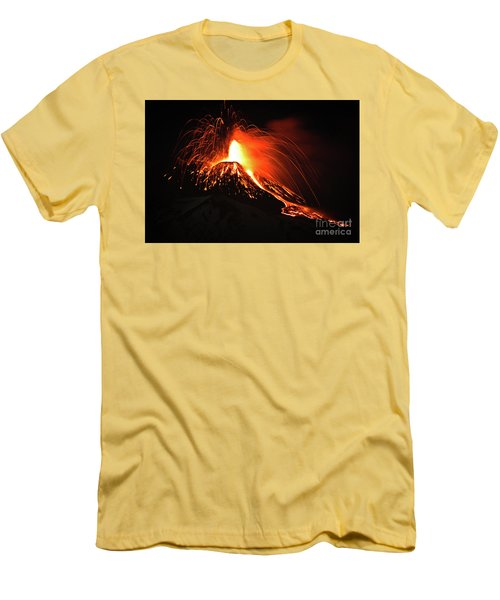 Men's T-Shirt (Slim Fit) featuring the pyrography Etna by Bruno Spagnolo