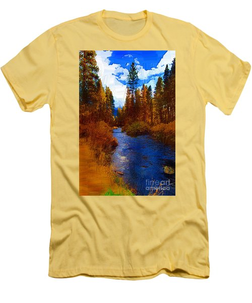 Evening Hatch On The Metolius Painting Men's T-Shirt (Slim Fit) by Diane E Berry