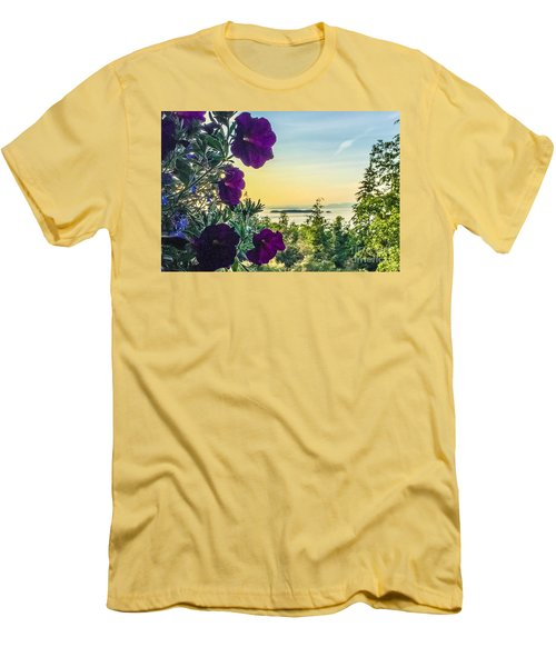Men's T-Shirt (Slim Fit) featuring the photograph Evening Light On Orcas Island by William Wyckoff