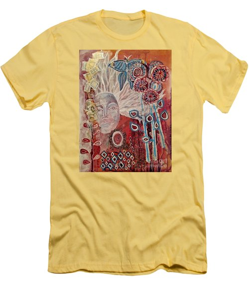 Men's T-Shirt (Slim Fit) featuring the mixed media Evening by Mimulux patricia no No