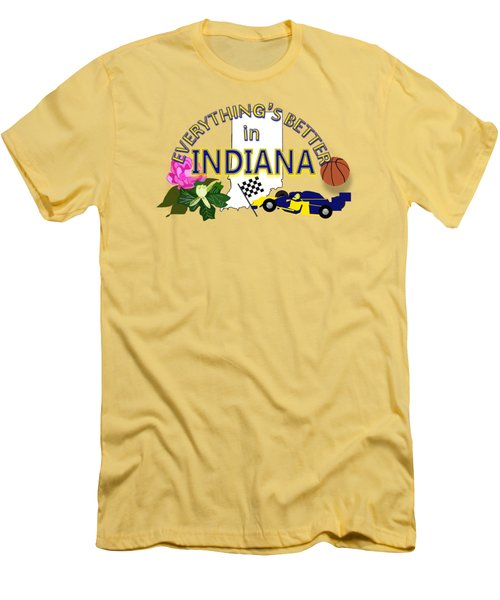 Everything's Better In Indiana Men's T-Shirt (Slim Fit) by Pharris Art