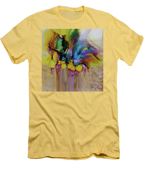 Men's T-Shirt (Slim Fit) featuring the painting Explosion Of Petals by Joanne Smoley