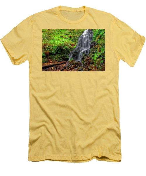 Men's T-Shirt (Slim Fit) featuring the photograph Fairy Falls Oregon by Jonathan Davison