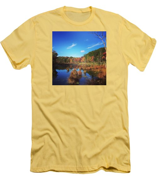 Fall At The Pond Men's T-Shirt (Slim Fit) by Jason Nicholas